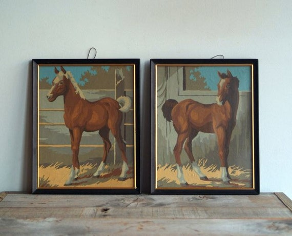 Vintage Paint By Number Horse Paintings