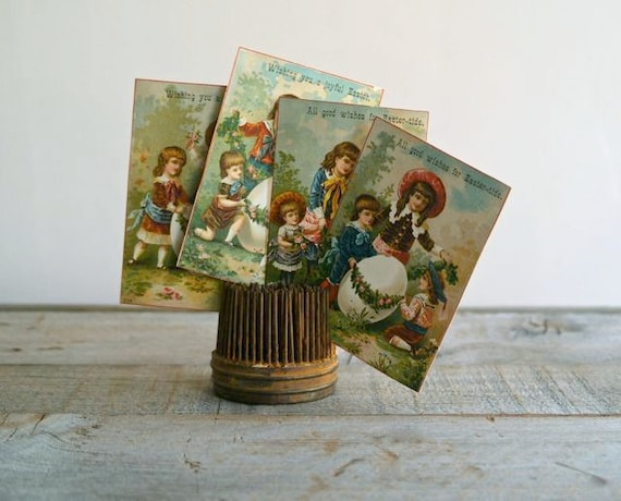 Victorian Easter Trade Cards-- Set of 4- Children Decorating an Egg