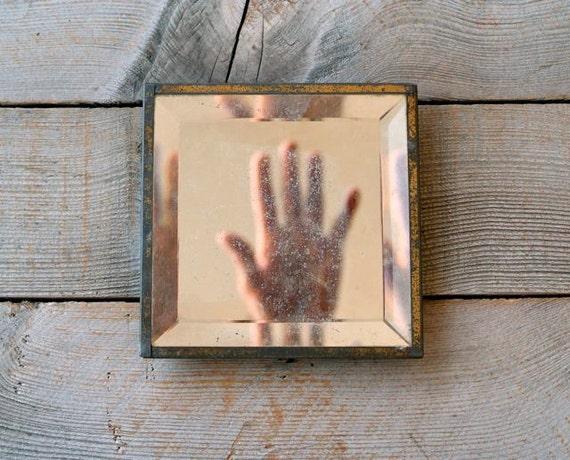 Antique Beveled Mirror-- Gold Washed Metal Frame