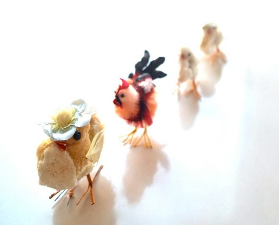 Vintage Chenille Chicks and Rooster-- Instant Easter Collection