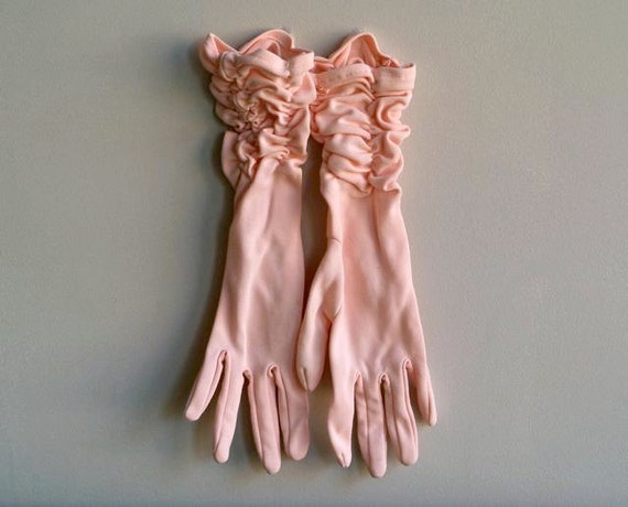 Vintage Pink Gloves - Ruched and Ready to Wear