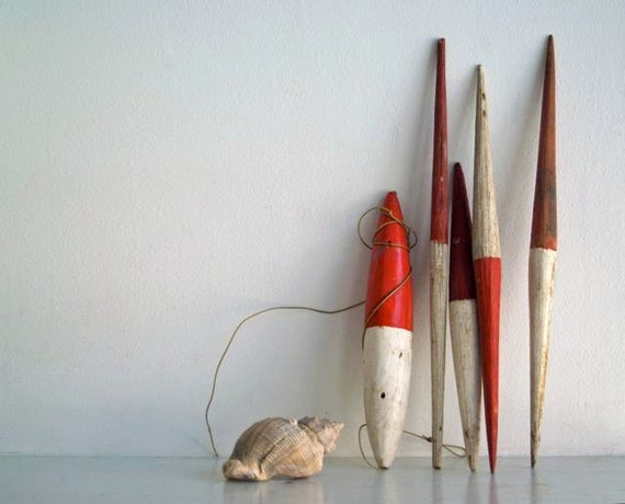 Vintage Painted Wood Fishing Bobs
