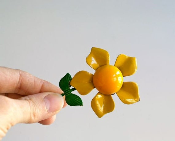 Vintage 1960s Flower Brooch, Sunny Yellow Gold Enamel