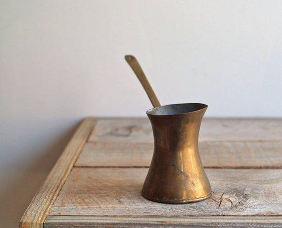 Vintage Bronze Turkish Coffee Pot- Pouring Pot- Planter- Vintage Kitchen Ware
