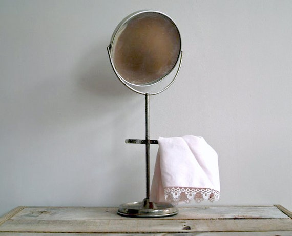 Antique Shaving Mirror With Stand, Double Faced Vintage Swivel Mirror, Bath,
