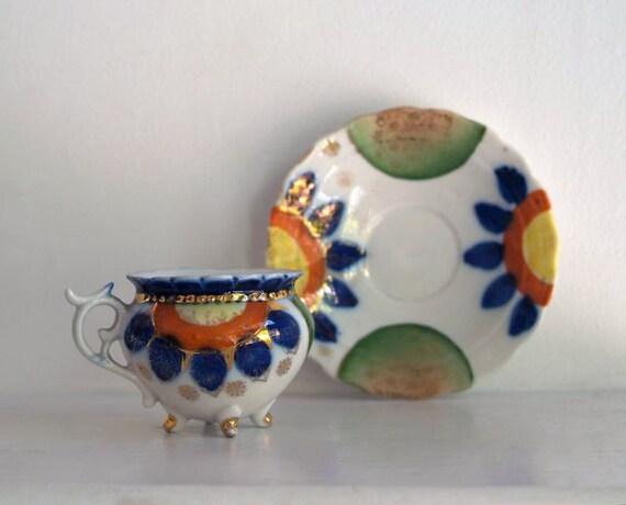 Antique Hand Painted Porcelain Tea Cup & Saucer, Cobalt Blue and Orange Flowered Tea Cup and Saucer,