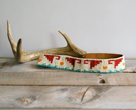Antique Indian Beadwork and Leather Belt, Childrens Beaded Belt, Tribal, Geometric,