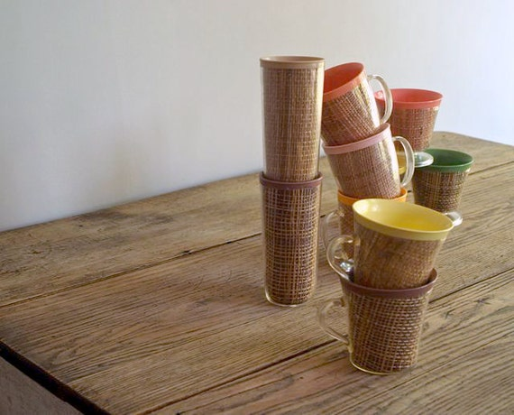 Vintage Collection of Raffia Beverage Cups, 1960s-70s Summer Raffia Drinking Cups, Retro, Tiki Bar, Beach ware, Patio Party