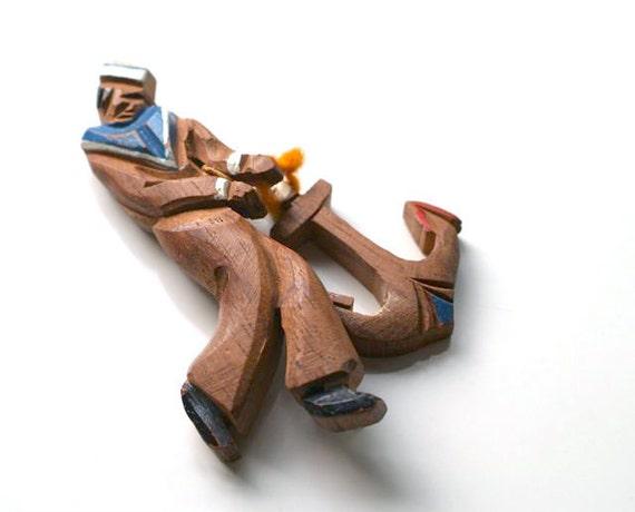 Vintage Hand Carved Sailor Brooch, Nautical Adornment, Wood Sailor and Anchor Brooch, Folk Art Sailor