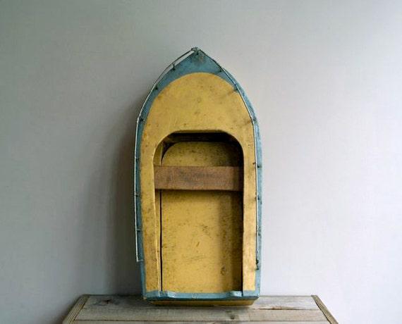 Reserved for Jesse Antique Wood Motorboat Model, Nautical Folk Art