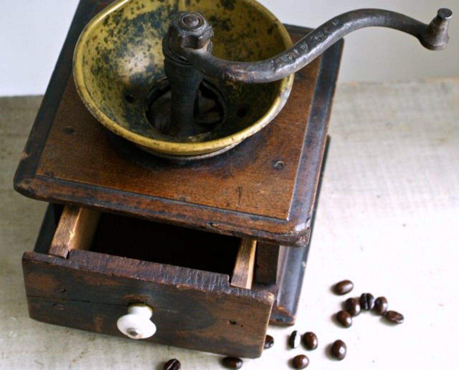 Reserved For Chiara Antique Brass And Wood Coffee Grinder