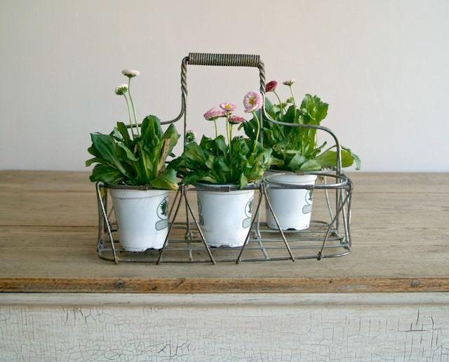 antique wire metal milk bottle carrier muliti use garden. Black Bedroom Furniture Sets. Home Design Ideas
