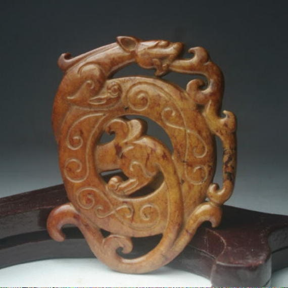 "2.4"" x 2""  Beautifully Carved Chinese Jasper Dragon Pendant"