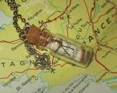 Mini Glass Bottle Pendant - Message in a Bottle - Fleur De Lis - belle - no.137