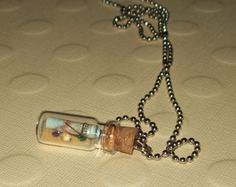 Miniature Glass Bottle Necklace / Map and Treasure /No. 80