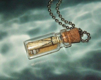 Message in a Bottle Necklace / Sand and Seashell