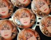JonBenet BAPHOMET pin// tragic beauty queen darling button satanic
