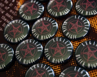 "LEGALIZE IT// Satanic ""Legalize Black Magic"" Pentagram Sigil of Baphomet Pin"