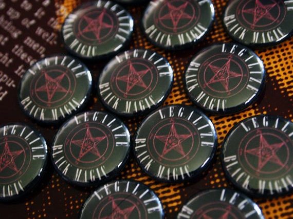 "LEGALIZE IT// Satanic ""Legalize Black Magic"" Pentagram Sigil of Baphomet Pin"