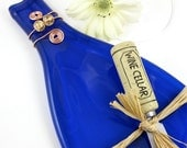 Flattened Wine Bottle Tray - Cobalt Blue and Eco Friendly