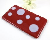 Red Polka Dot Spoon Rest - Red and White Fused Glass