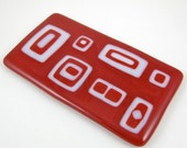 Glass Spoon Rest - Red and White Geometric Fused Glass