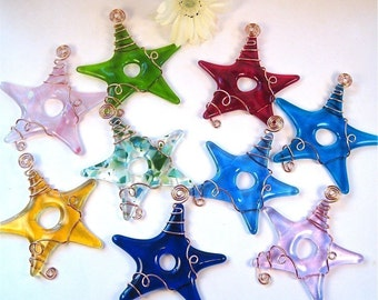 10 Fused Glass Stars Wrapped With Copper Wire - Your Choice of Colors