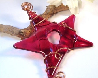 Glass Star Christmas Ornament - Red Fused Glass