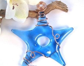 Fused Glass Star Suncatcher - Blue Glass