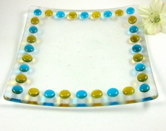 Fused Glass Dot Plate - Amber and Turquoise Glass Serving Tray