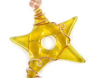 Gold Glass Star Ornament - Amber Fused Glass Star Christmas Tree Ornament - Fused Glass Star Wrapped With Copper Wire - Christmas Star