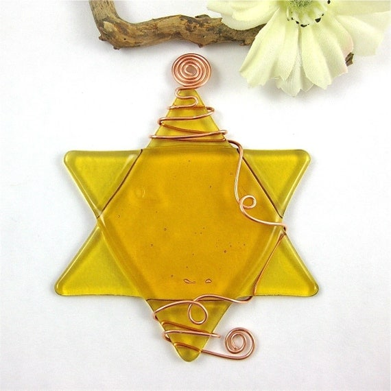 Amber Fused Glass Star of David Hanukkah Ornament Wrapped with Copper Wire