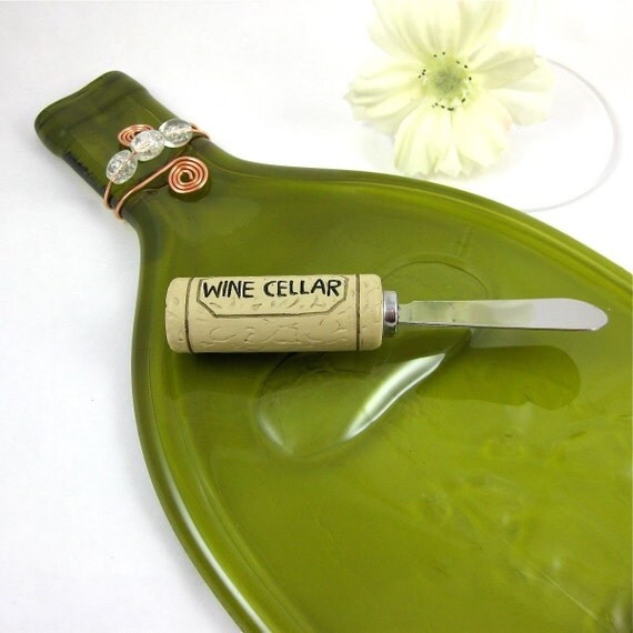 Large Flattened Wine Bottle Serving Tray - Olive Green and Eco Friendly
