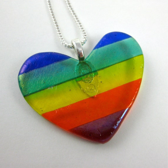 RESERVED for  Khocoachanel - Rainbow Fused Glass Heart Necklace