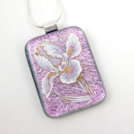 Pink Fused Glass Necklace Dichroic Glass with Flowers