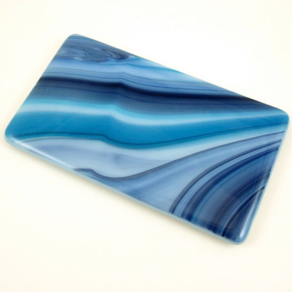 Spoon Rest - Blue Swirl Fused Glass