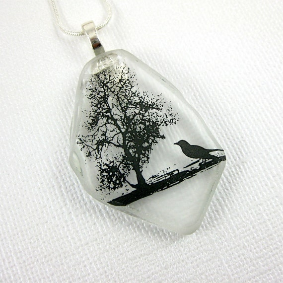 Recycled Glass Jewelry Clear Flattened Wine Bottle Necklace with a Tree and Crow