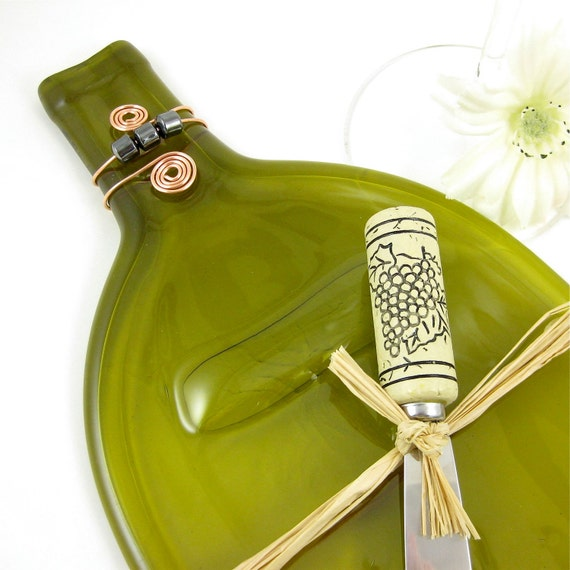 Wine Bottle Serving Tray -  Large Olive Green Cheese Plate, Recycled and Eco Friendly