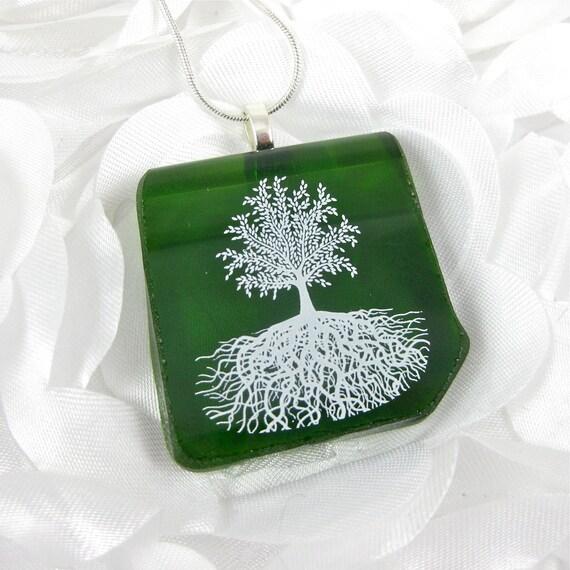 Eco Friendly Fused Glass Pendant Green Flattened Wine Bottle Fused Glass Jewelry