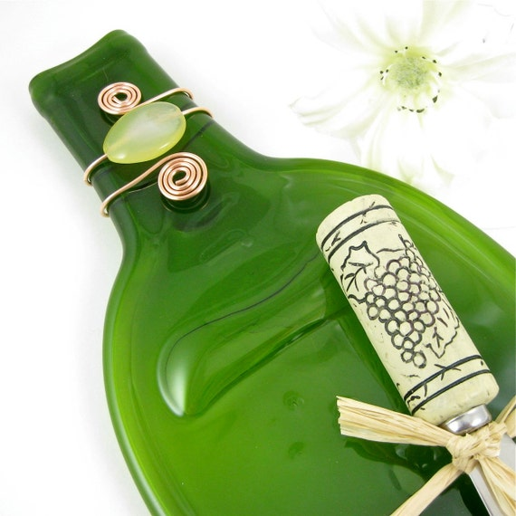 Flattened Wine Bottle Cheese Plate  - Recycled and Eco Friendly Dark Green Bottle