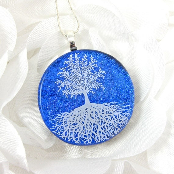 Cobalt Blue Dichroic Glass Pendant Tree of Life