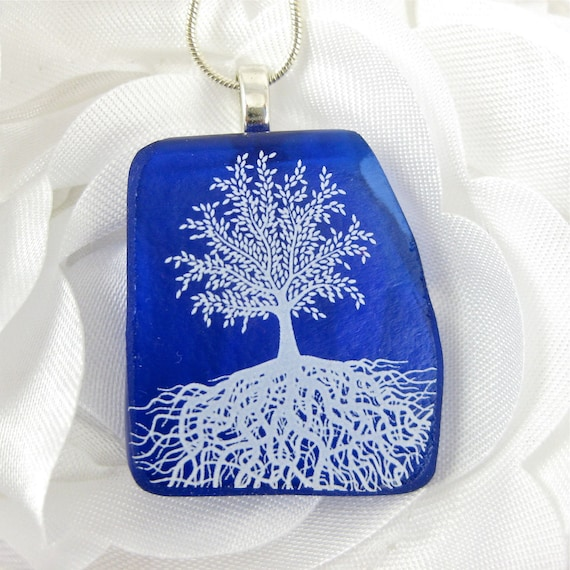 Blue Glass Tree of Life Necklace Recycled Wine Bottle Jewelry - Eco Friendly Jewelry
