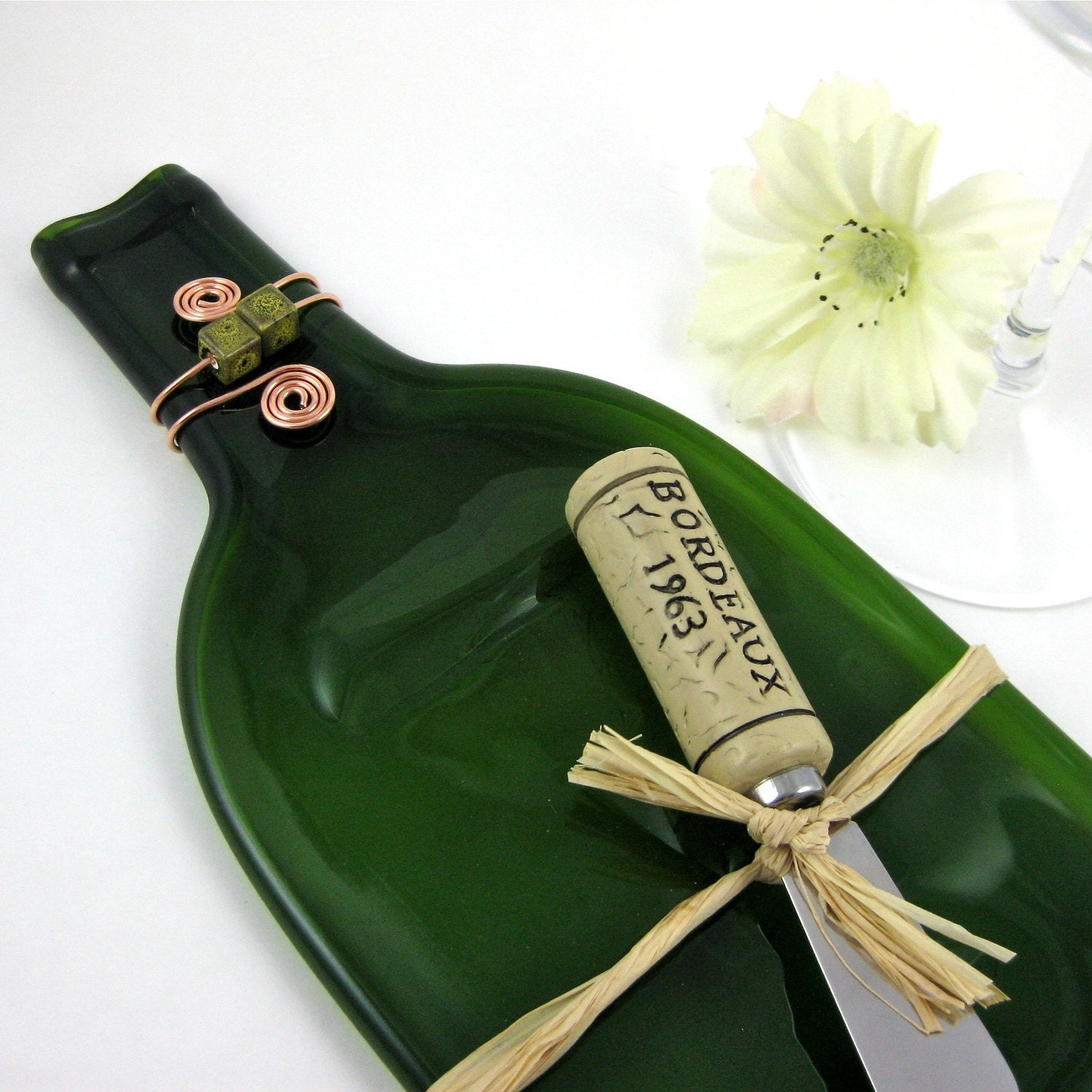eco friendly flattened wine bottle serving tray dark green
