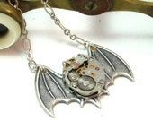 Batty Steampunk Necklace Gothic Wings Vintage Watch Movement Designed by Mystic Pieces
