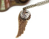Steampunk Wing Necklace Vintage Watch Movement Cosplay Designed by Mystic Pieces