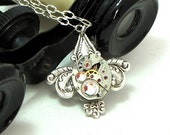 Fleur De Li Steampunk OOAK Necklace Vintage Watch Movement Exclusive Design by Mystic Pieces