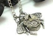Fly Bumble Bee Steampunk Necklace Vintage Watch Movement Designed by Mystic Pieces