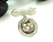 Sweet Steampunk Pin Vintage Gruen 17 Jewels Watch Movement Bow Swarovski Designed by Mystic Pieces