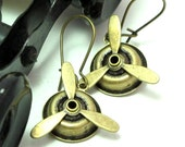 Working Propeller Steampunk Earrings Airship Dirigible Aviation Handmade Designed by Mystic Pieces