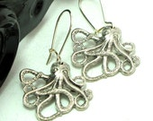 Jules Verne Octopus Steampunk Earrings Squid Silver Ear Wires By Mystic Pieces